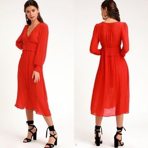 NEW Lulu's Go For It Long sleeve midi dress medium